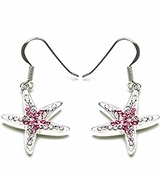 Swarovski Crystal Rose Starfish Sterling Silver Earrings