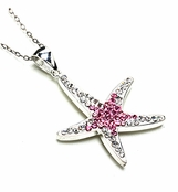 Swarovski Crystal Pink Starfish Sterling Silver Pendant Necklace