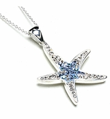 Swarovski Crystal Aqua Starfish Sterling Silver Pendant Necklace