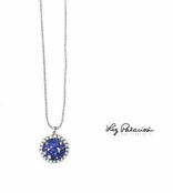 Swarovski Crystal Sapphire Round Rock Candy Pendant Necklace by Liz Palacios