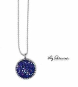 Swarovski Crystal Bold Sapphire Circle Rock Candy Pendant Necklace by Liz Palacios