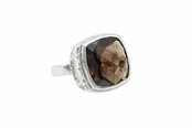 Smoky Quartz Sterling Silver Cocktail Ring by Baroni