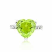 Peridot 6 Carat Heart Cut Solitaire CZ Ring