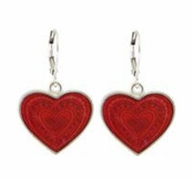 Red Enameled Heart Drop Earrings by Baked Beads