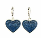 Denim Blue Enameled Heart Drop Earrings by Baked Beads