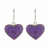 Purple Enameled Heart Drop Earrings by Baked Beads