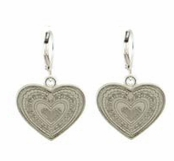 Silver Engraved Heart Drop Earrings by Baked Beads