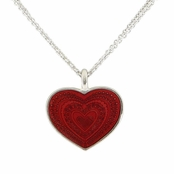 Red Enameled Heart Pendant Necklace by Baked Beads