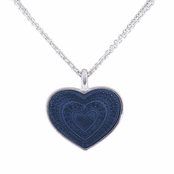 Denim Blue Enameled Heart Pendant Necklace by Baked Beads