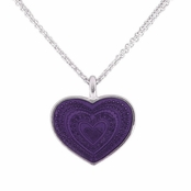 Purple Enameled Heart Pendant Necklace by Baked Beads