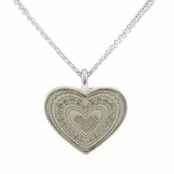 Silver Engraved Heart Pendant Necklace by Baked Beads