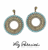 Circulo Turquoise Multi Swarovski Crystal Circle Drop Earrings by Liz Palacios