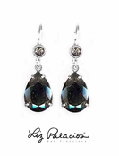 Swarovski Crystal Silver Night Teardrop Leverback Earrings by Liz Palacios