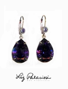 Swarovski Crystal Purple Velvet Teardrop Leverback Earrings by Liz Palacios