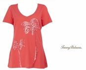 Bright Coral Presley Sequin Palm Tree Tee Shirt by Tommy Bahama