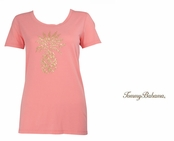 Delicate Rose Presley Sequin and Bead Pineapple Tee Shirt by Tommy Bahama