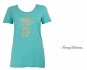 Blue Freeze Presley Sequin and Bead Pineapple Tee Shirt by Tommy Bahama
