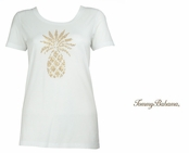 White Presley Sequin and Bead Pineapple Tee Shirt by Tommy Bahama