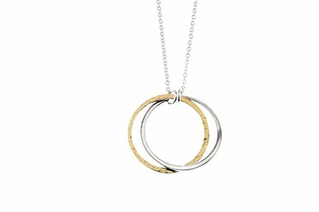 Double Silver and Gold Circle Necklace by Baroni