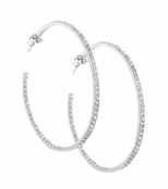 CZ Eternity Sterling Silver Hoop Earrings