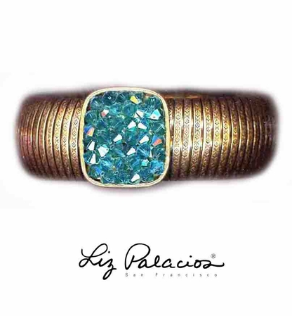 Swarovski Crystal Indicolite Stretch Bangle Bracelet by Liz Palacios