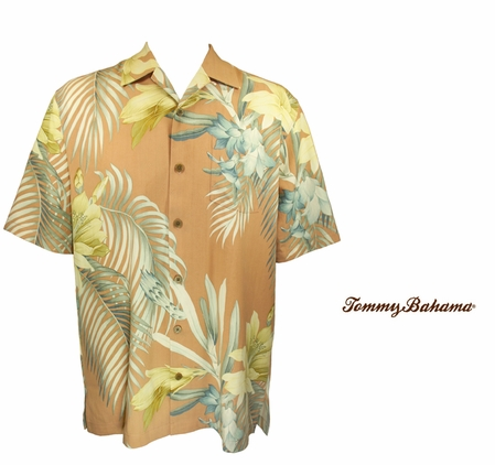 Canteloupe Moon Over Laguna Silk Camp Shirt by Tommy Bahama