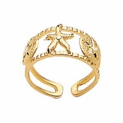 14K Triple Sealife Toe Ring