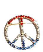 Patriotic Crystal Peace Sign Pin