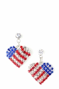 Patriotic Crystal Rhinestone Heart Drop Earrings