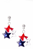 Red White and Blue Layered Star Drop Earrings