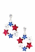 Patriotic Crystal and Enameled Circle of Stars Earrings