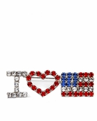 I Love USA Crystal Rhinestone Pin