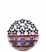 Domed Stars and Stripes Crystal Pin