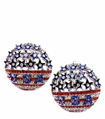 Domed Stars and Stripes Crystal Earrings
