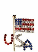 Crystal USA Flag Pin