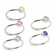 Sterling Silver Swarovski Crystal Stackable Band Ring