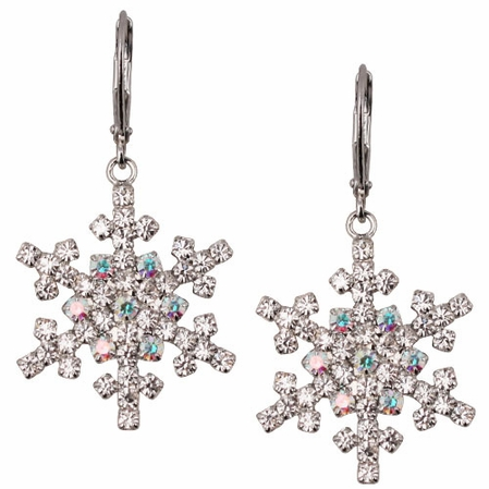 Let It Snow Snowflake Leverback Earrings by Kirks Folly