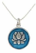 Baked Beads Blue Lotus Reversible Pendant Necklace