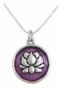 Baked Beads Amethyst Lotus Reversible Pendant Necklace