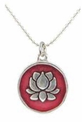 Baked Beads Ruby Lotus Reversible Pendant Necklace