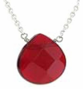 Baked Beads Ruby Faceted Drop Necklace