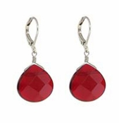 Baked Beads Ruby Faceted Drop Earrings