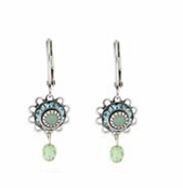 Baked Beads Aquamarine Crystal Flower and Drop Earrings