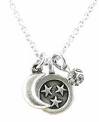 Baked Beads Moon and Stars Crystal Charm Cluster Necklace