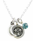 Baked Beads Moon and Stars Teal Crystal Charm Cluster Necklace