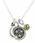 Baked Beads Moon and Stars Olive Crystal Charm Cluster Necklace
