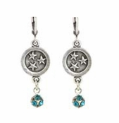 Baked Beads Circle of Stars Teal Crystal Drop Earrings