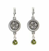 Baked Beads Circle of Stars Olive Crystal Drop Earrings