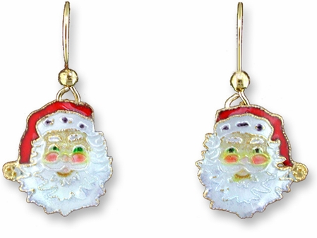 Smiling Santa Enameled Gold Vermeil Earrings by Zarah Co