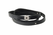 Matte Flower Wrap Black Leather Bracelet by Baroni